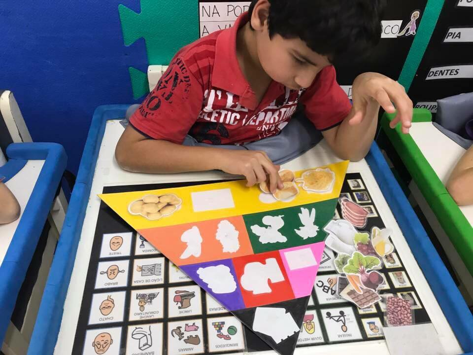 criança com deficiência sentada em sala de aula escolhendo símbolos de comunicação alternativa